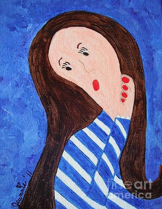 Jordan Allen Artist Painting - Pondering Brunette by Jeannie Atwater Jordan Allen