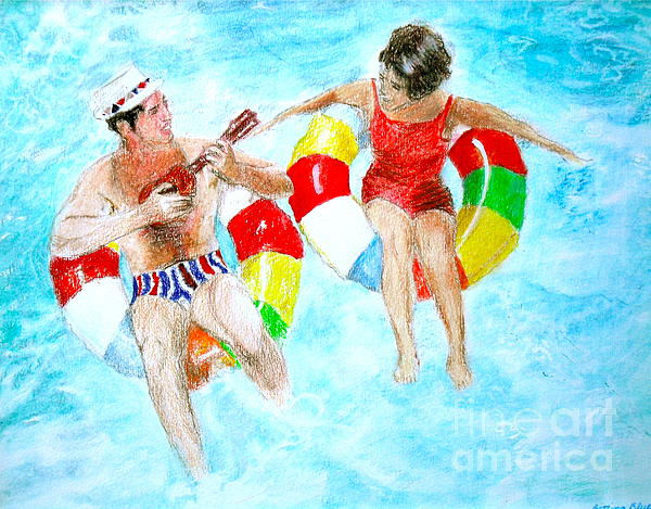 Prismacolors Drawing - Pool by Beth Saffer