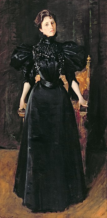 Portrait Painting - Portrait Of A Lady In Black by William Merritt Chase