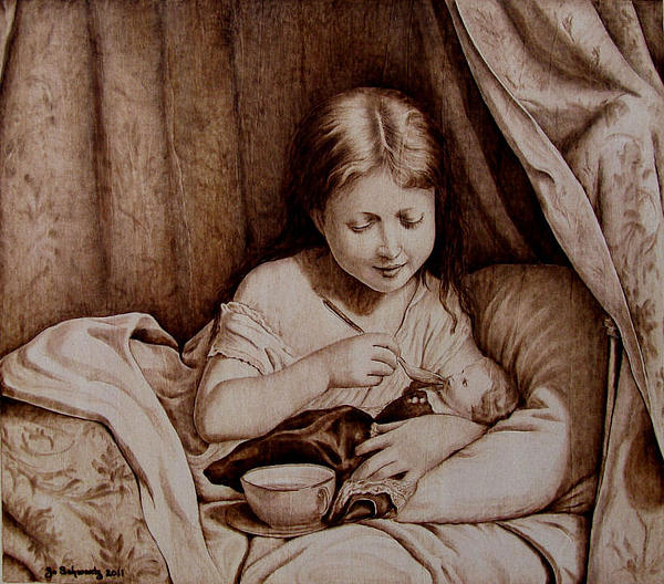 Pyrography Pyrography - Precious Moments-no Border by Jo Schwartz