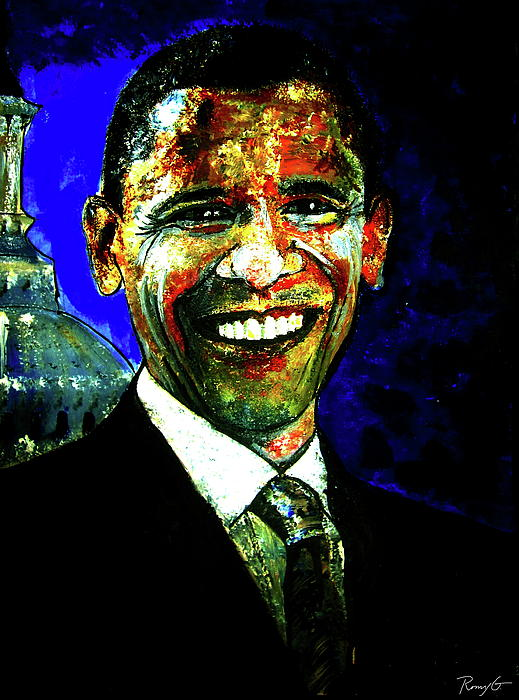 Us President Painting - President Barack Obama by Romy Galicia