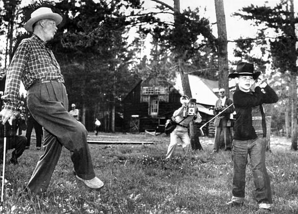 History Photograph - President Eisenhower Adds A Little Body by Everett
