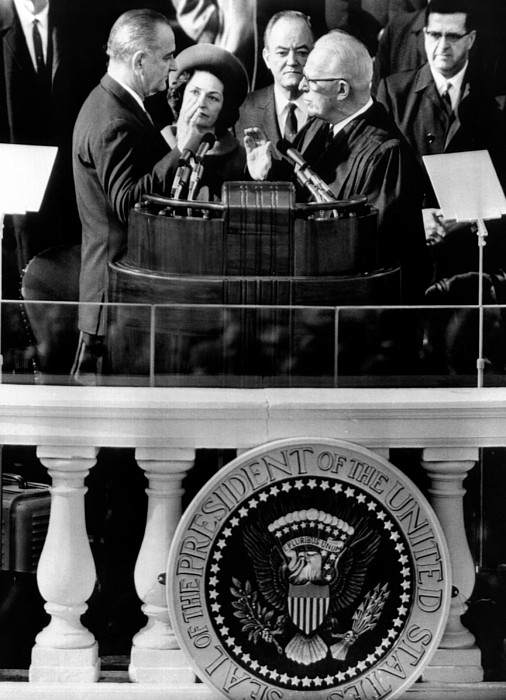 History Photograph - President Johnson Takes The Oath by Everett