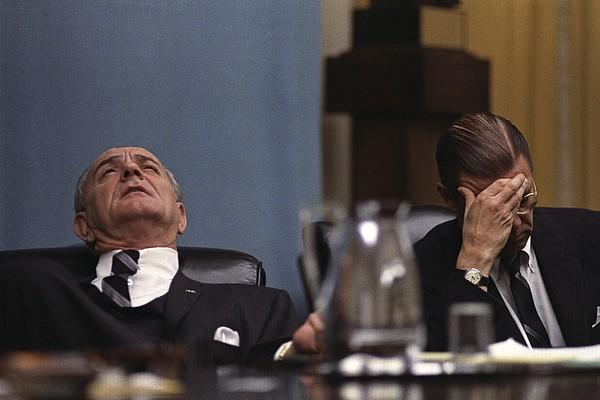 History Photograph - President Lyndon Johnson And Defense by Everett