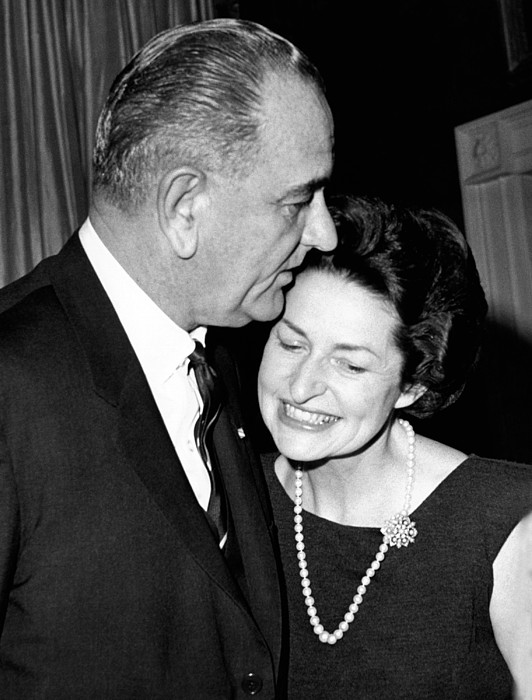 History Photograph - President Lyndon Johnson Kisses by Everett