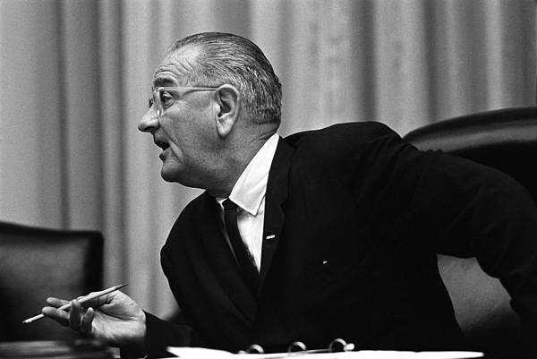 History Photograph - President Lyndon Johnson Speaking by Everett