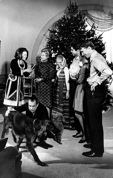 Dog Photograph - President Richard Nixon And Family by Everett