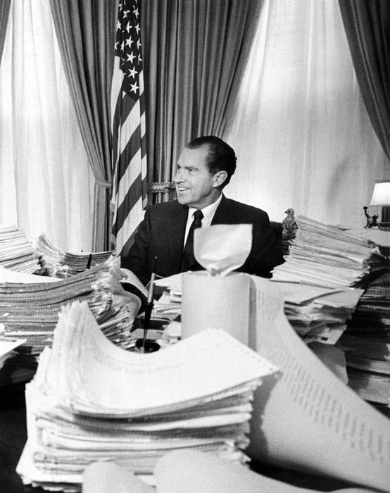 History Photograph - President Richard Nixon Sitting Among by Everett