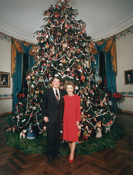 Christmas Photograph - President Ronald Reagan, First Lady by Everett