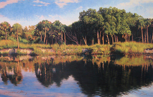 Marsh Scenes Painting - Print Coastal River Journey by Michael Story