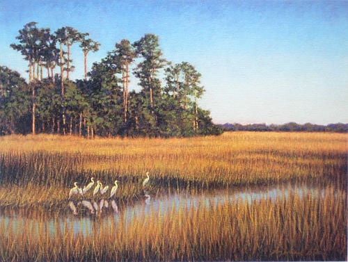 Marsh Scenes Painting - Print Egret Gathering by Michael Story