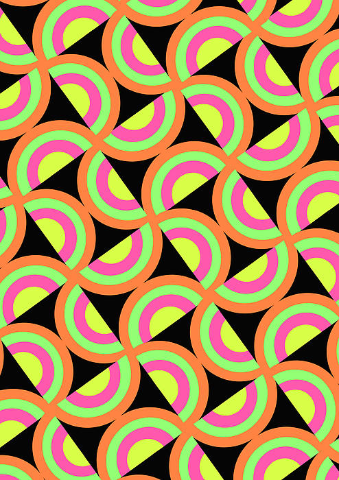Psychedelic Squares (digital) By Louisa Knight (contemporary Artist) Digital Art - Psychedelic Squares by Louisa Knight