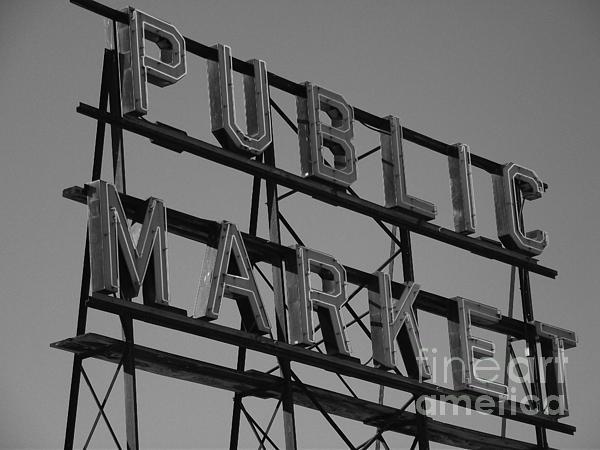Seattle Digital Art - Public Market by Monika Pabon