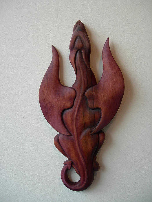 Dragon Sculpture - Purple Dragon Plaque by Shane Tweten