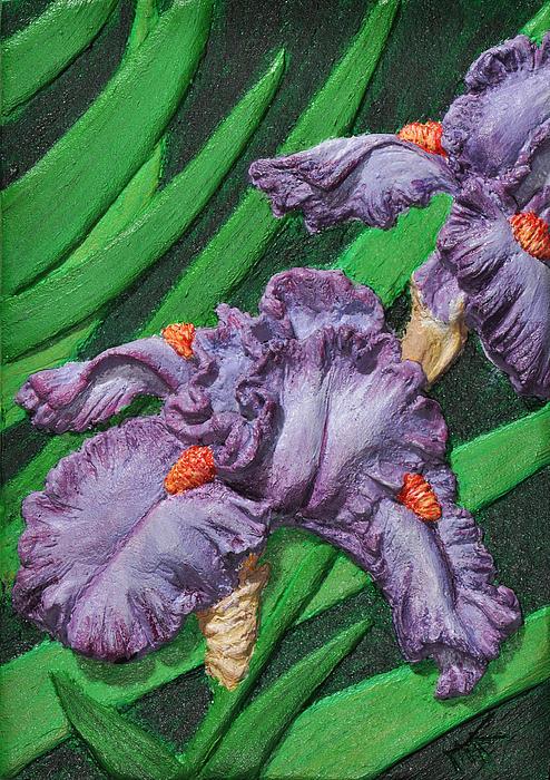 Floral Relief - Purple Iris Flowers Sculpture by Valerie  Evanson
