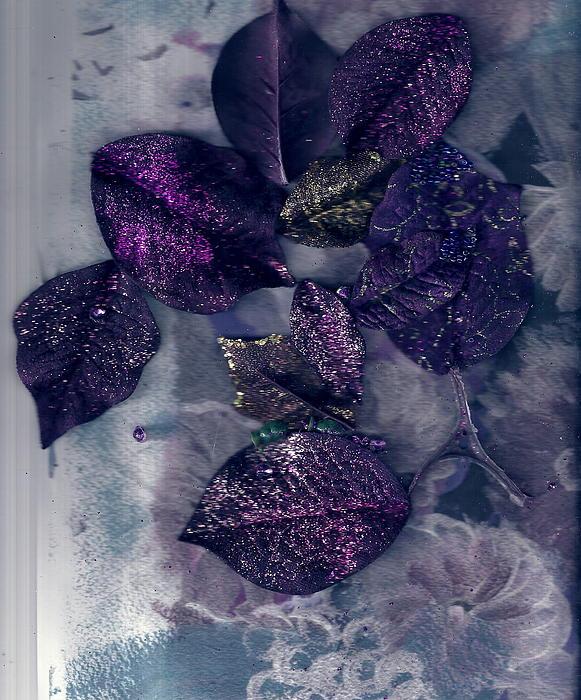 Purple Painting - Purple Leaves All Glittery by Anne-Elizabeth Whiteway