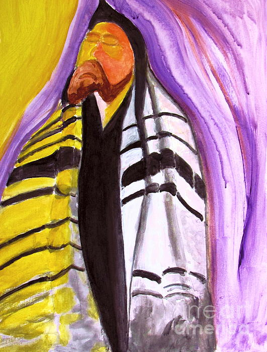Kabbalah Mystical Study Painting - Rabbi Praying With Kabbalah by Stanley Morganstein