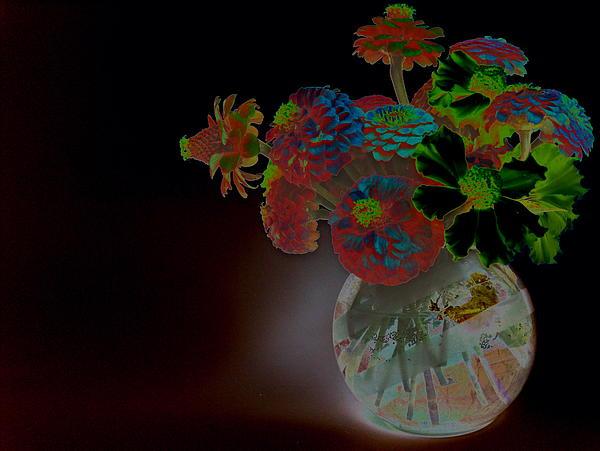 Flower Arrangement Photograph - Rainbow Flowers In Glass Globe by Padre Art