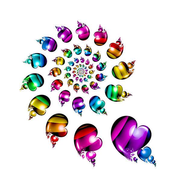 Rainbow Digital Art - Rainbow Heart Wheel On White by Pam Blackstone