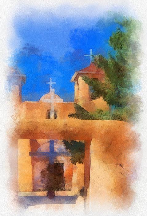 Ranchos Digital Art - Ranchos Church Gate - Aquarell by Charles Muhle