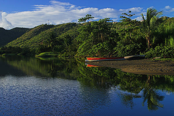 Canoe Photograph - Red Canoe On Roseau River- St Lucia by Chester Williams