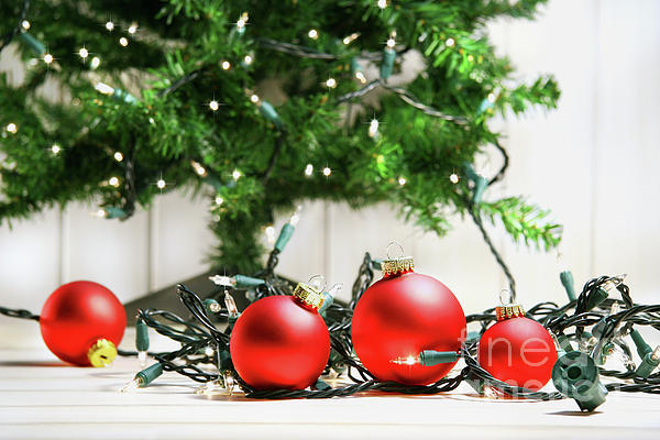 Bright Photograph - Red Glass Balls With Lights  by Sandra Cunningham