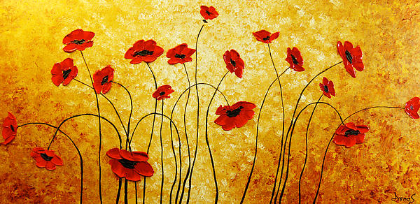 Poppies Painting - Red Gold by Irena Sherstyuk