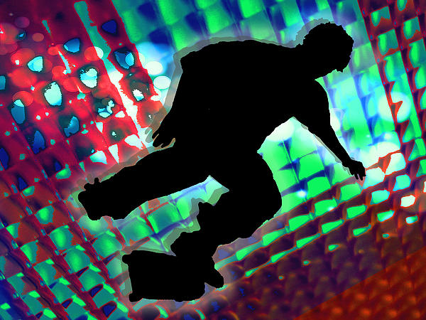 Red Green And Blue Abstract Boxes Skateboarder Painting by Elaine Plesser