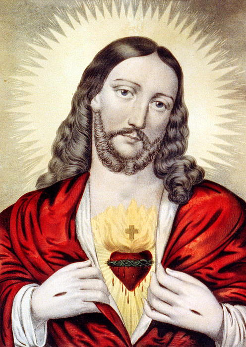 Jesus Photograph - Red Heart by Munir Alawi