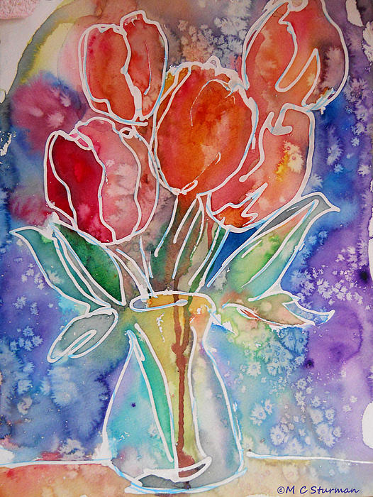 Tulips Mixed Media - Red Tulips by M C Sturman