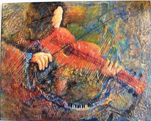 Figures Painting - Red Violyn by Bonnie Hallay