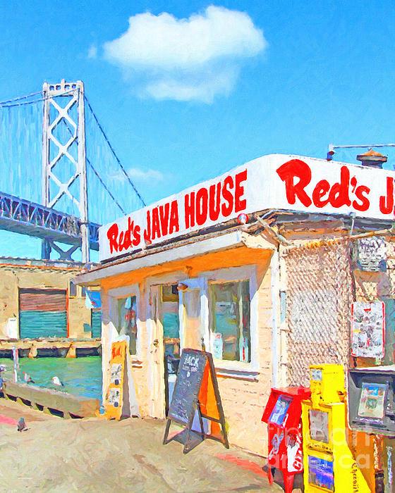 San Francisco Photograph - Reds Java House And The Bay Bridge At San Francisco Embarcadero by Wingsdomain Art and Photography