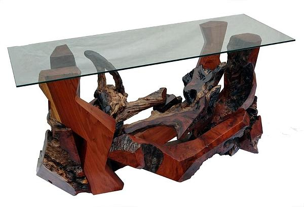 Console Tables Sculpture - Redwood Burl And Glass Console Table Ds-19411 by Daryl Stokes