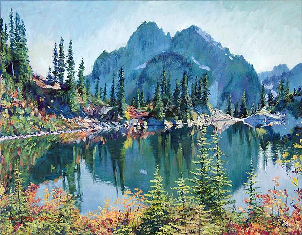 Lake Painting - Reflections On Gem Lake by David Lloyd Glover