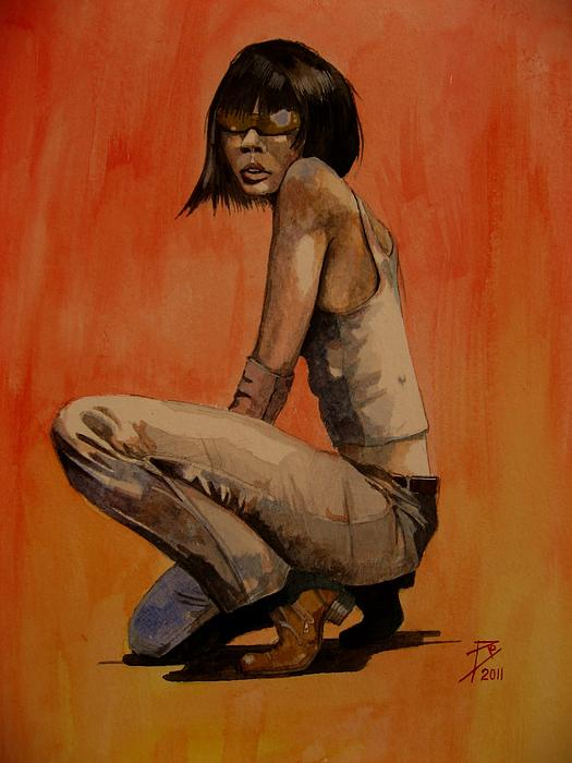 Watercolour Painting - Ren by Ray Agius