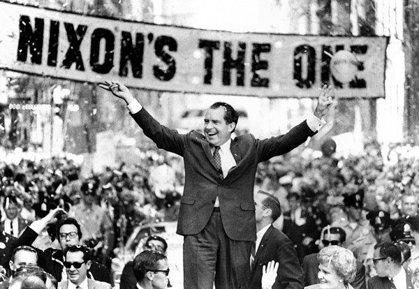 History Photograph - Richard Nixon, Delivering His The V by Everett
