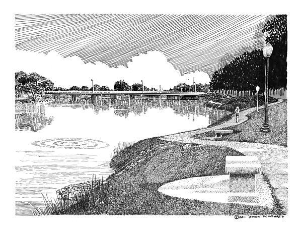 Riverwalk On The Pecos Drawing by Jack Pumphrey