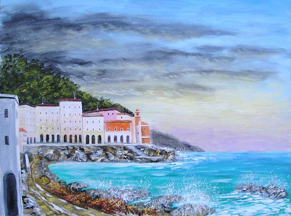 Riviera Ligure Painting by Larry Cirigliano