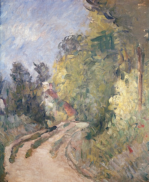 Road Painting - Road Turning Under Trees by Paul Cezanne