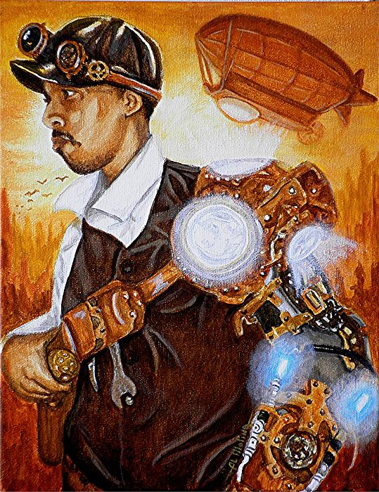Steampunk Painting - Rogue In Airtropolis At Sunset by Al  Molina