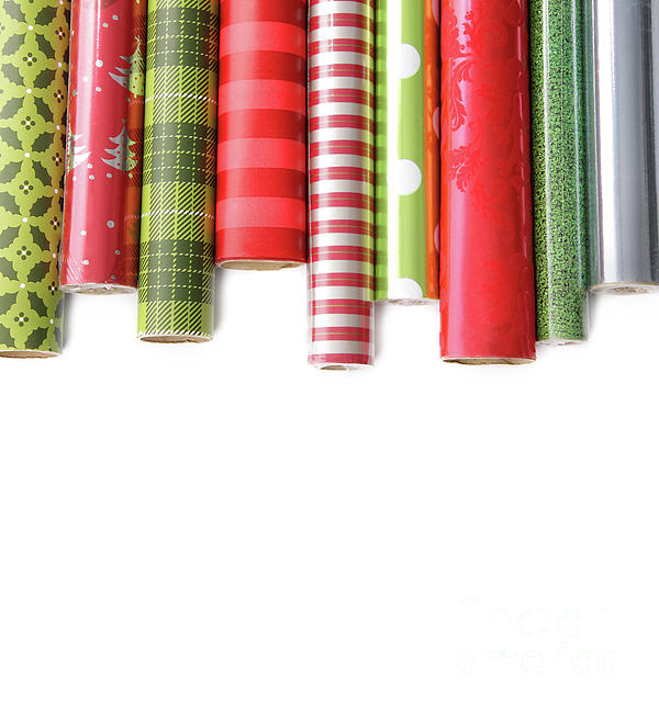 Red Photograph - Rolls Of Colored Wrapping  Paper On White3 by Sandra Cunningham