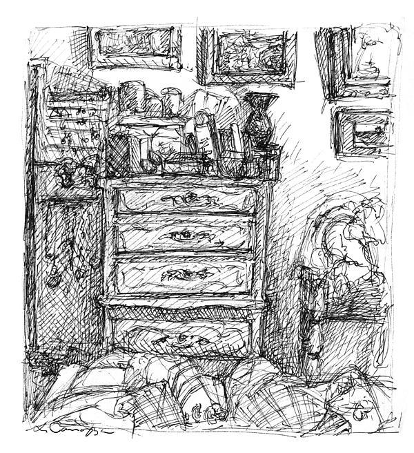 Room Drawing - Room Study by Elizabeth Carrozza