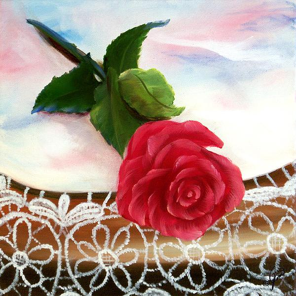 Rose Painting - Rose And Lace by Joni McPherson