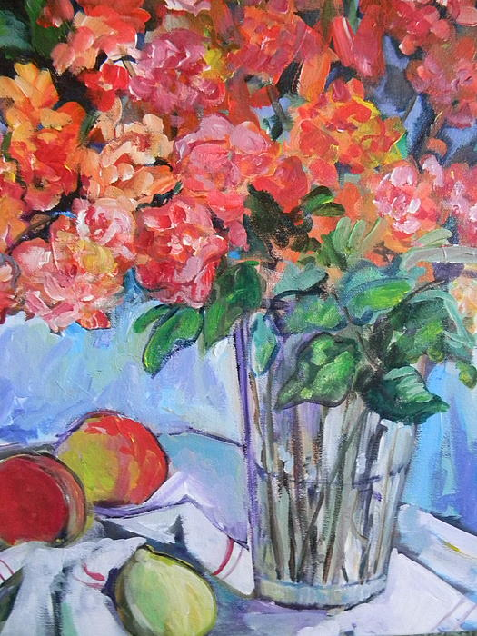 Roses Painting - Roses And Peaches by Carol Mangano