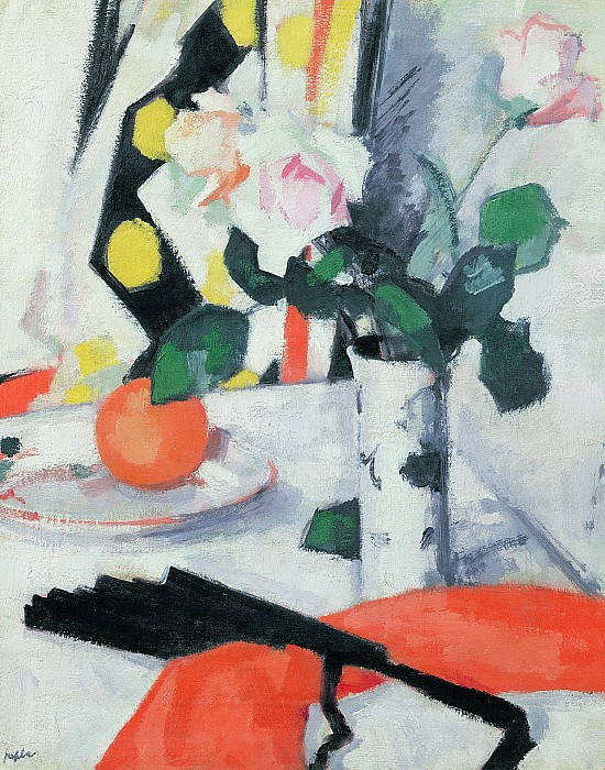 Still Painting - Roses In A Chinese Vase With Black Fan by Samuel John Peploe