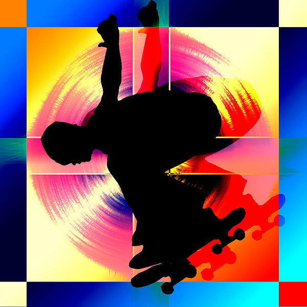 Round Peg In Square Hole Skateboarder Painting by Elaine Plesser