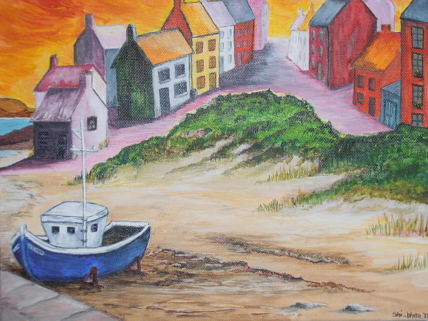 Trawler Painting - Roundstone Harbour  by Siobhan Lawson