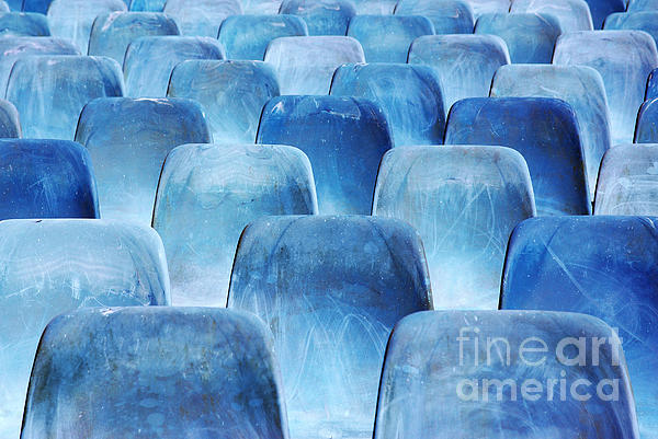 Amphitheater Photograph - Rows Of Blue Chairs by Carlos Caetano