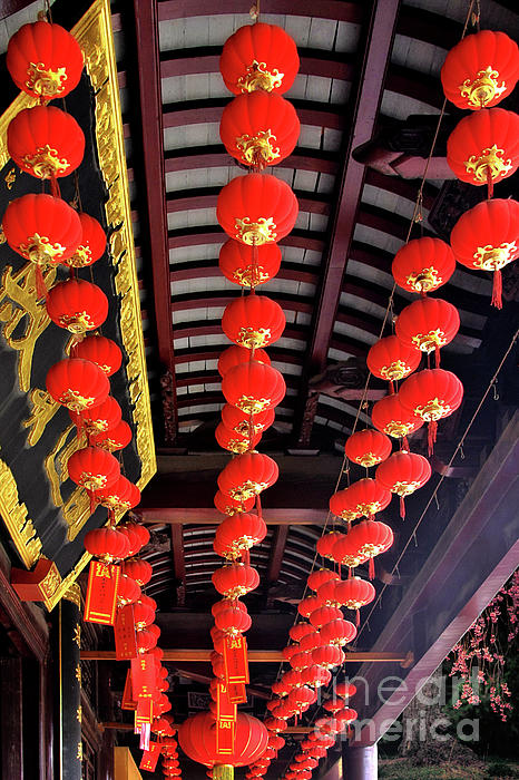 Lampions Photograph - Rows Of Red Chinese Paper Lanterns - Shanghai China by Christine Till