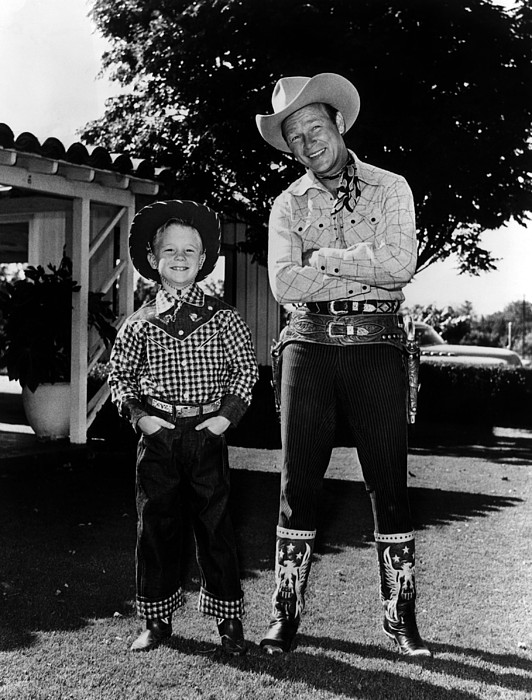 1950s Photograph - Roy Dusty Rogers Jr., And His Father by Everett